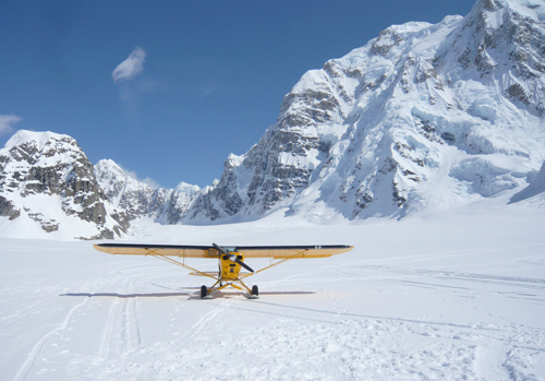Supercub on Skis in the Alaska Range